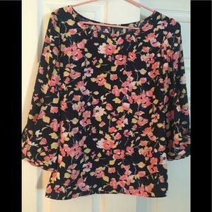 Navy blue and pink floral blouse